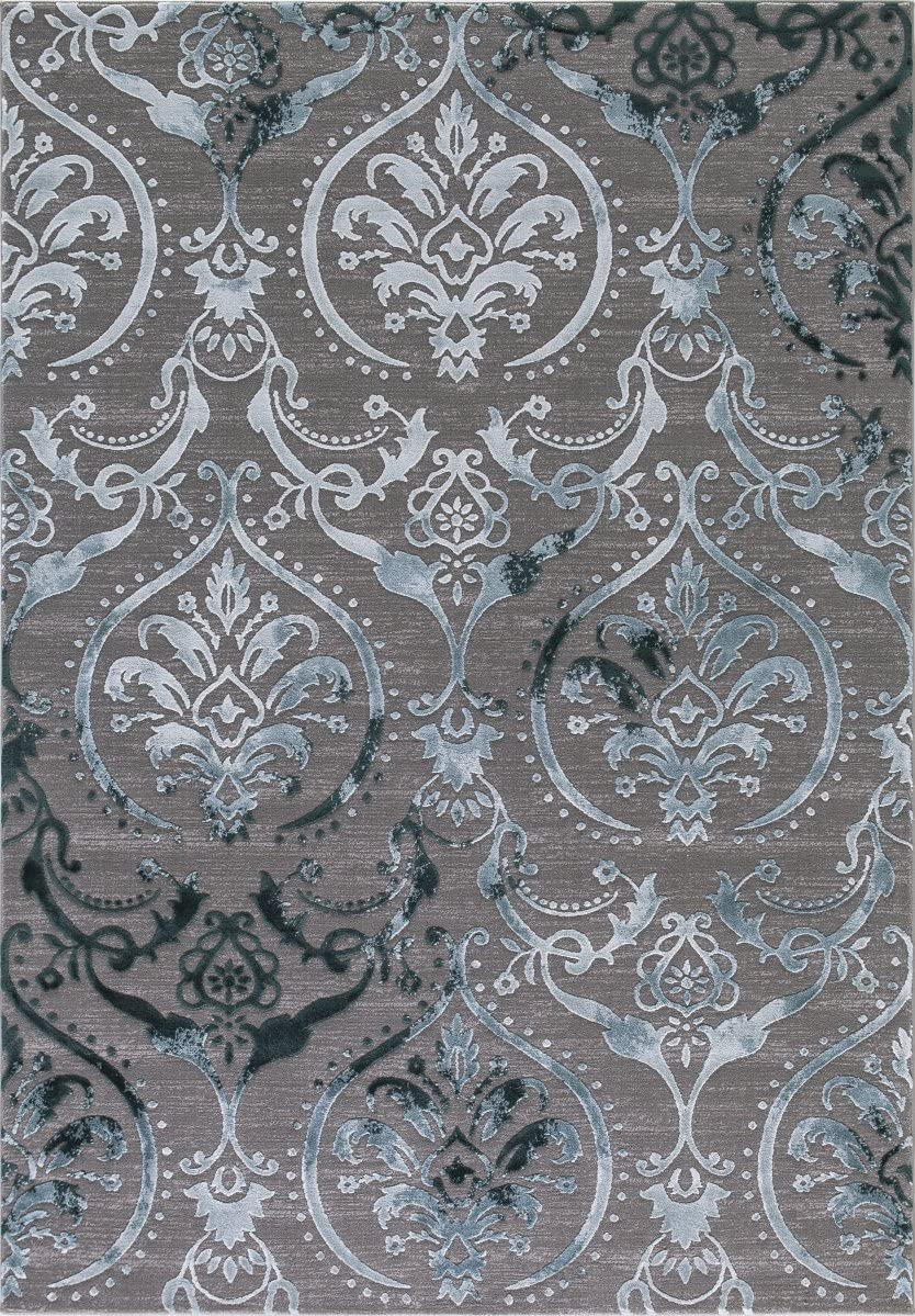 Wow Home Concord Global Thema Large Damask Teal – Gray Area Rug 5 3 X7 3