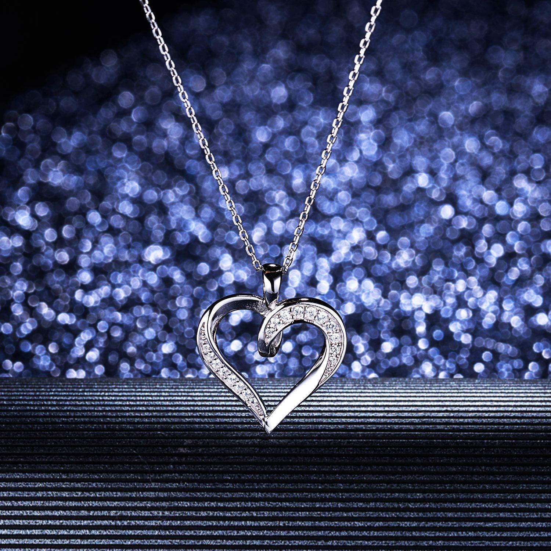 Billie Bijoux 925 Sterling Silver Infinity Love Heart Necklace Platinum Plated Round CZ Diamond Fine Woman's jewelry 18'' by Billie Bijoux (Image #6)