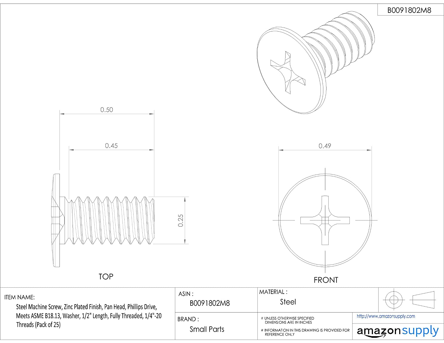 Fully Threaded 3//8 Length 3//8 Length Small Parts Pack of 50 Internal-Tooth Lock Washer #2-56 UNC Threads Plain Finish Phillips Drive 18-8 Stainless Steel Machine Screw Meets ASME B18.13 Pan Head