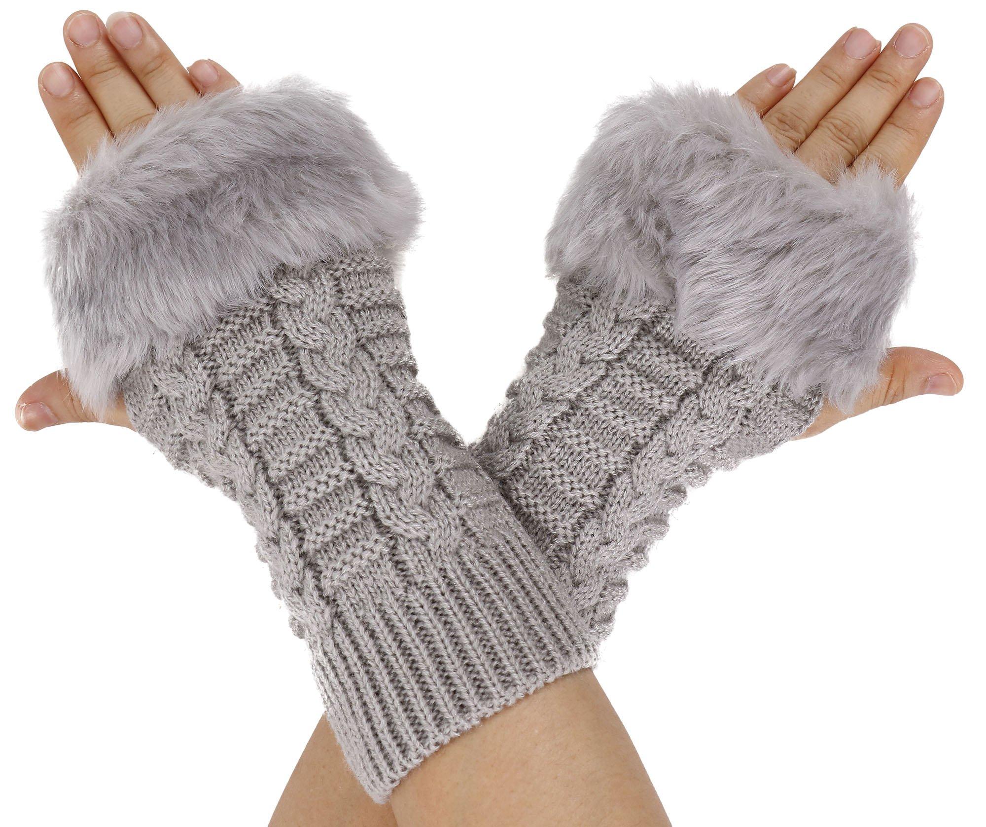 Simplicity Winter Warmer Faux Knitted Hand Wrist Fingerless Gloves, Light Grey2
