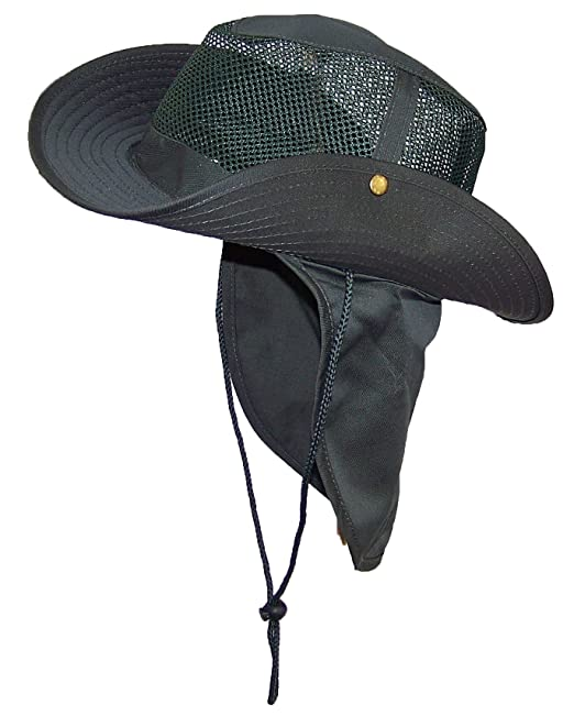 c79a2f9bb186e Wide Brim Men Safari Outback Summer Hat With Neck Flap (Medium ...