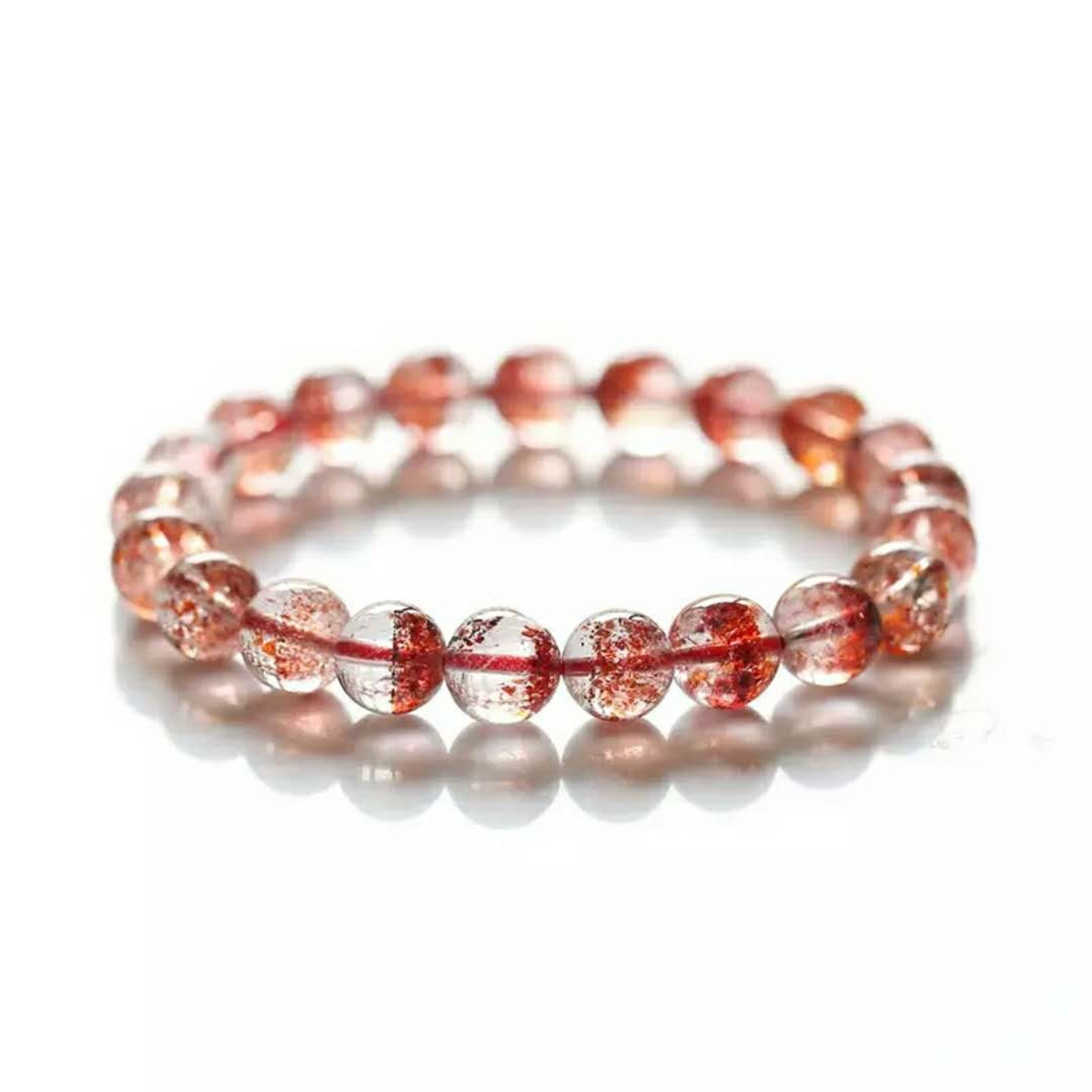 LiZiFang Golden Natural Strawberry Quartz Bracelet Crystal Lepidocrocite Super Seven Melody Stone Stretch Round Bead Bracelet 9mm