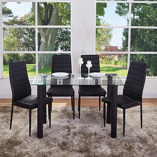 GOLDFAN - Mesa de Comedor y 4 sillas rectangulares de Cristal y ...