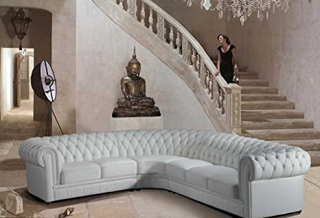 Amazon Com Vig Furniture Paris 1 White Tufted Leather Sectional