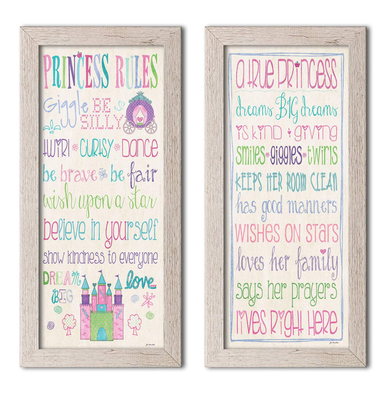 Gango Home Décor Adorable Princess Rules and A True Princess Set; Great for a Child's Room or Nursery; Two Distressed Framed 8x18in Prints; Ready to Hang!
