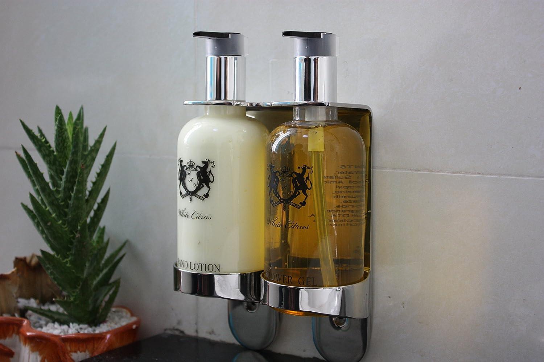 Dispensador doble baño ducha shampoo con bote 300 ml Dosificador y soporte de pared acero Albatros 100 piezas: Amazon.es: Industria, empresas y ciencia