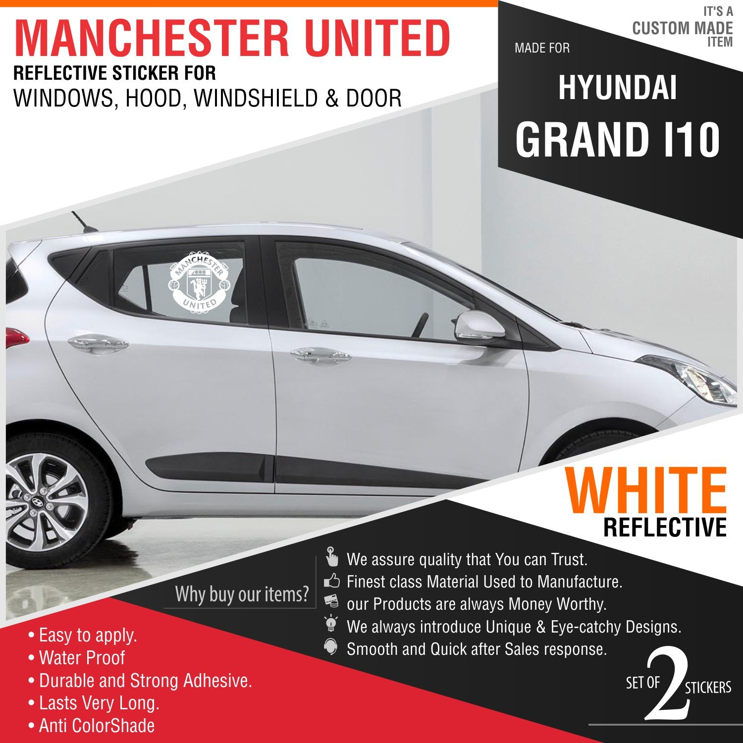 Carmetics generic manchester united sticker decal for hyundai grand i10 amazon in car motorbike