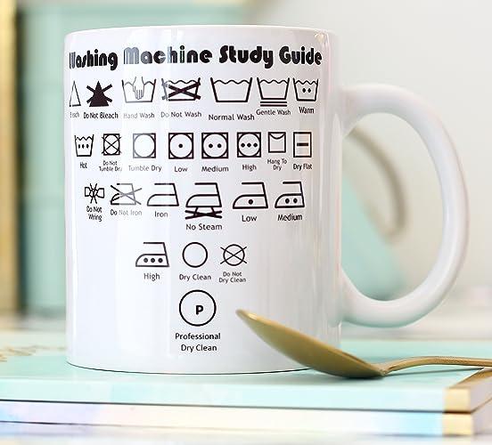 Novelty gift Ceramic mug washing laundry symbols guide