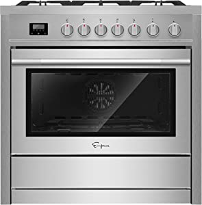Empava EMPV_36GR01 Stainless Steel 36 inch Professional Single Oven Gas Range with 5 Deep Recessed Burners Cooktops, 36