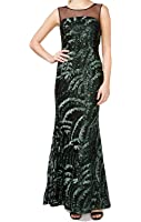 Calvin Klein Womens Sequined Illusion Formal Dress