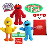 "GUND Sesame Street Full Body Plush Hand Puppets Featuring Elmo, Cookie Monster, Big Bird & Exclusive ""Matty's Toy Stop"" Storage Bag Gift Set Bundle - 3 Pack"