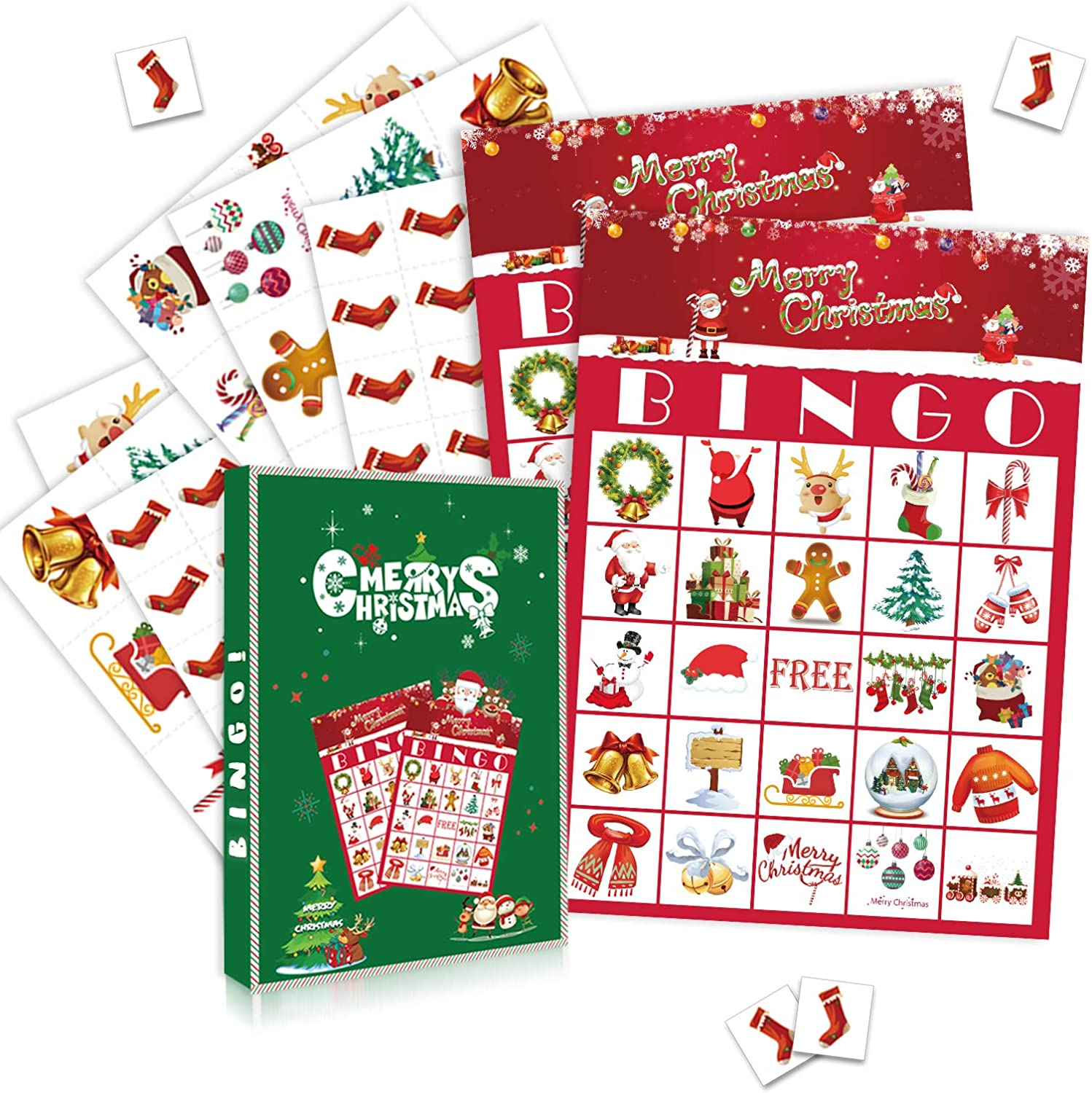 Christmas Bingo Game - Christmas Party Games for 24 Players, Christmas Bingo Game Cards for School Classroom Family Activities Holiday Party Favors, Winter Fun Supplies for Kids & Adults