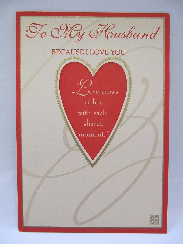 Hallmark To My Husband Because I Love You 3 Fold Birthday Greeting
