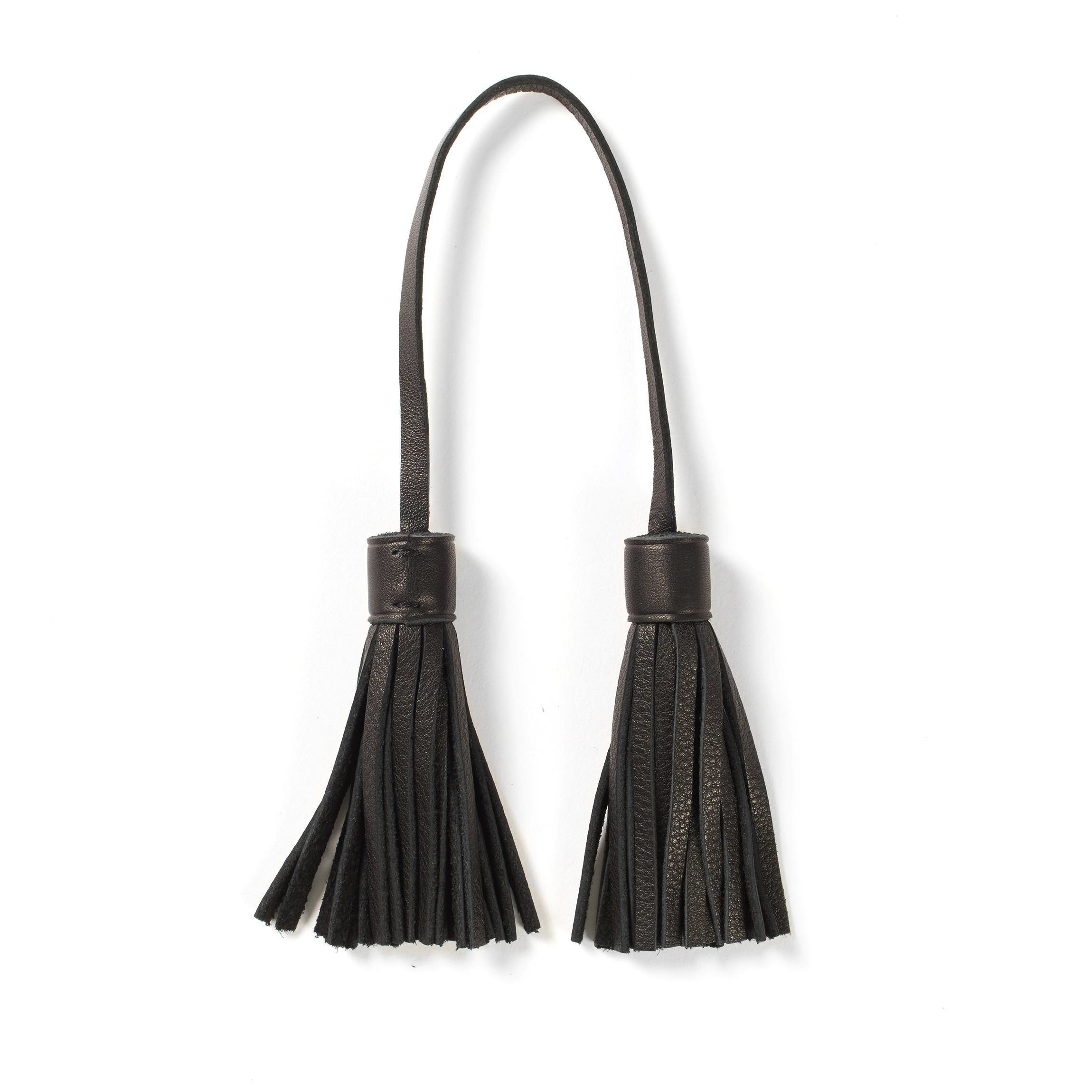 Tassel Bag Tag - Full Grain Leather - Black Onyx (black)