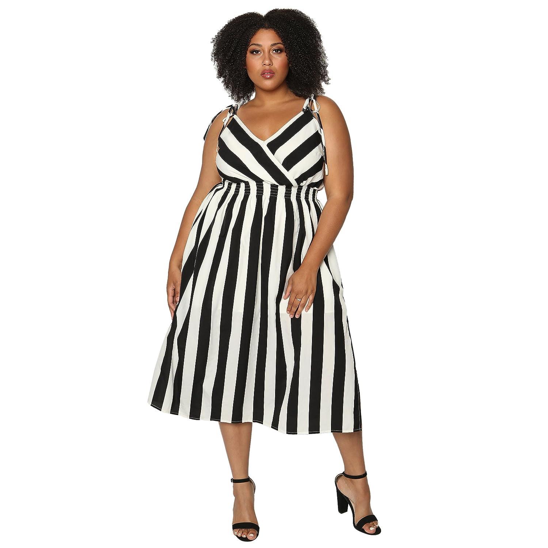 7a65e15f6e57f Astra Signature Women  s Sexy V Neck Stripe Sleeveless Spaghetti Straps A  Line Elastic Waist Midi Dress