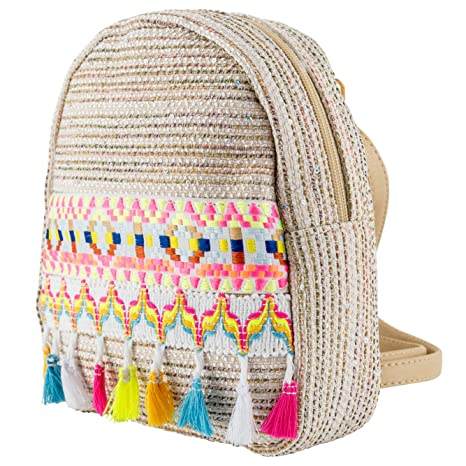 Amazon Com Small Backpack With Colorful Tassel Ethnic Bohemia