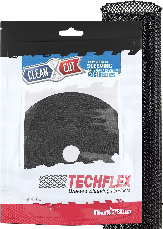 3//4 Inch Flexo Clean Cut Braided Cable Sleeve-Black-25 Feet