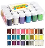 24 Pack Glitter Powder - Brightly Colored Loose Dust - Kids Fine Glitter Pack Shake Jars - Perfect for Holiday Crafting