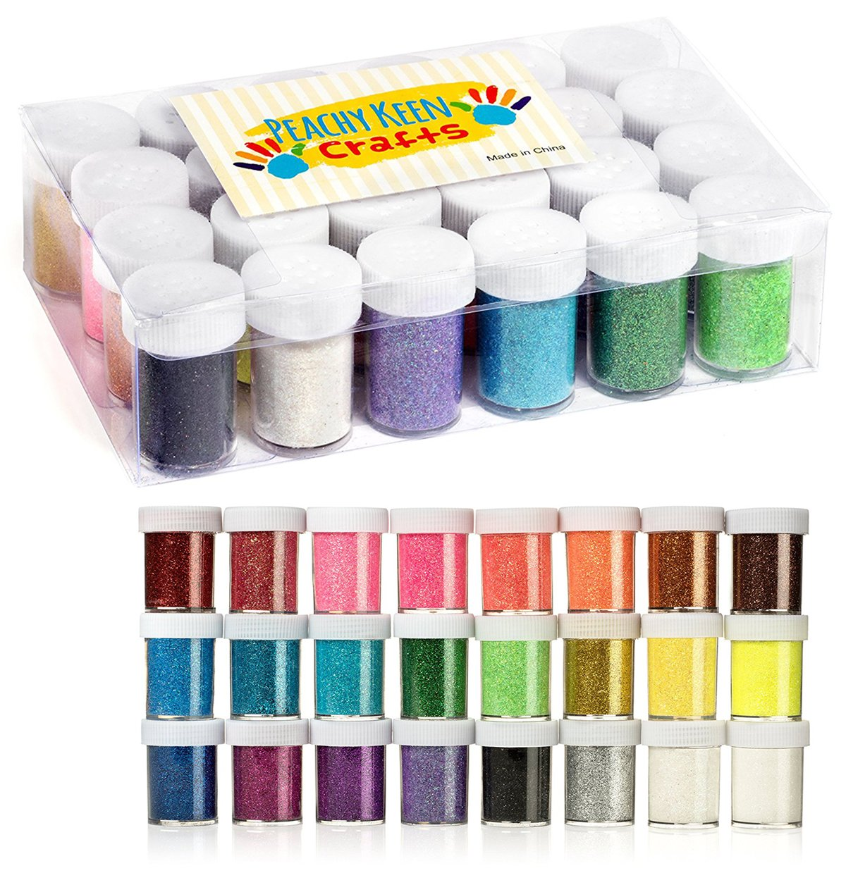 24 Pack Glitter Powder - Brightly Colored Loose Dust - Kids Fine Glitter Pack Shake Jars - Perfect for Holiday Crafting Maad Brands