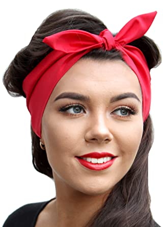 All Red Vintage 50s Style Pin Up Bow Head Scarf Bandana  Amazon.co ... 485d565153b