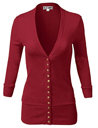 54ab966050f OLLIE ARNES Women s 3 4 Sleeve Cardigan with Snap Button Closure 9 Cabernet  M