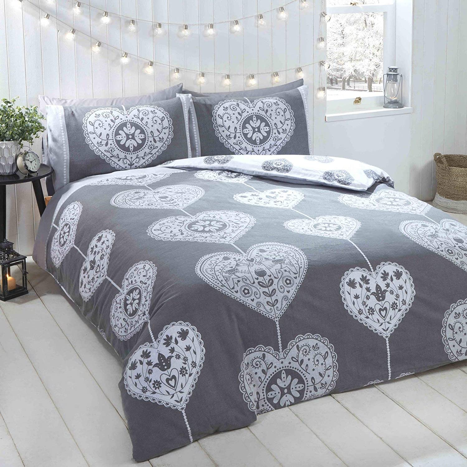Rapport Skandi Hearts Double Duvet Set 100/% Brushed Cotton Grey CHEAPEST ON