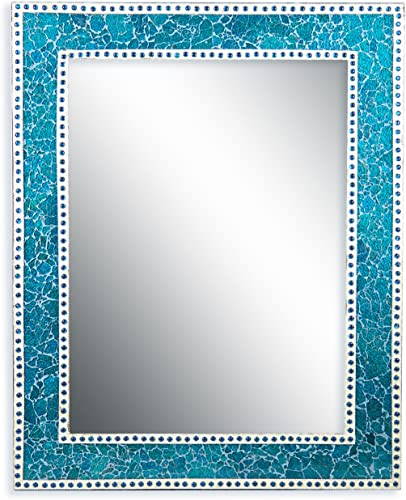 DecorShore Mosaic 30X24 Crackled Glass Decorative Wall Mirror, Turquoise