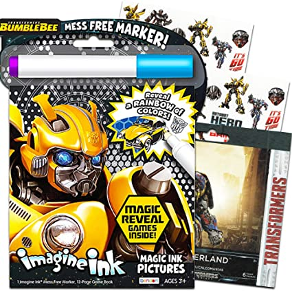 Transformers Imagine Ink Coloring Book Super Set with Over 300 Transformers Stickers Includes Mess-Free Marker