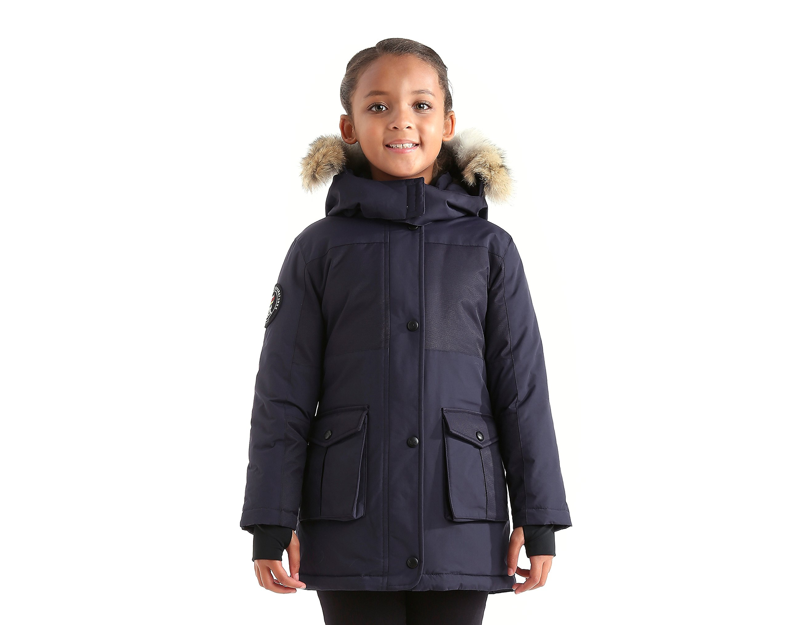 Triple F.A.T. Goose Madigan Girls Hooded Down Jacket Parka with Real Coyote Fur (12, Navy)