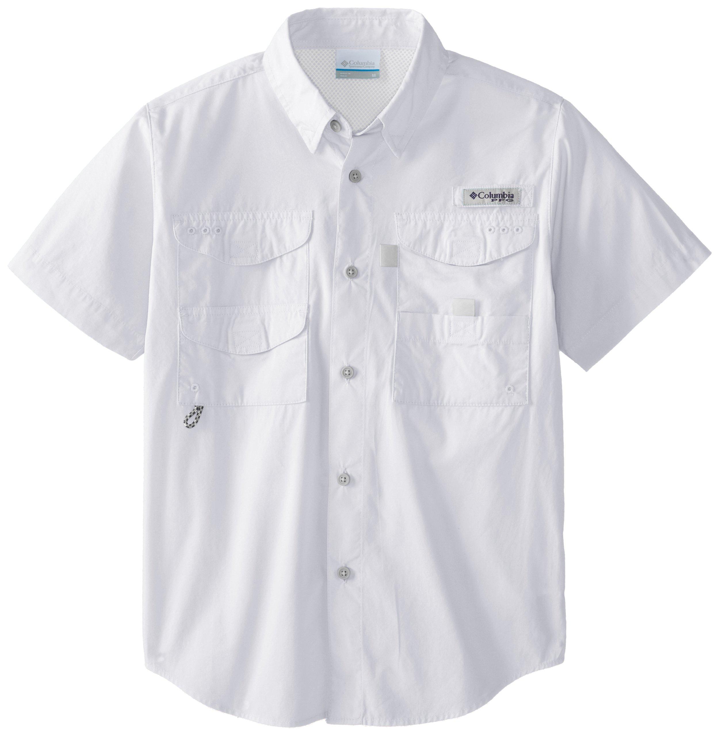 Columbia Youth Boys PFG Bonehead Short Sleeve Shirt, Cotton, Relaxed Fit, White, X-Small