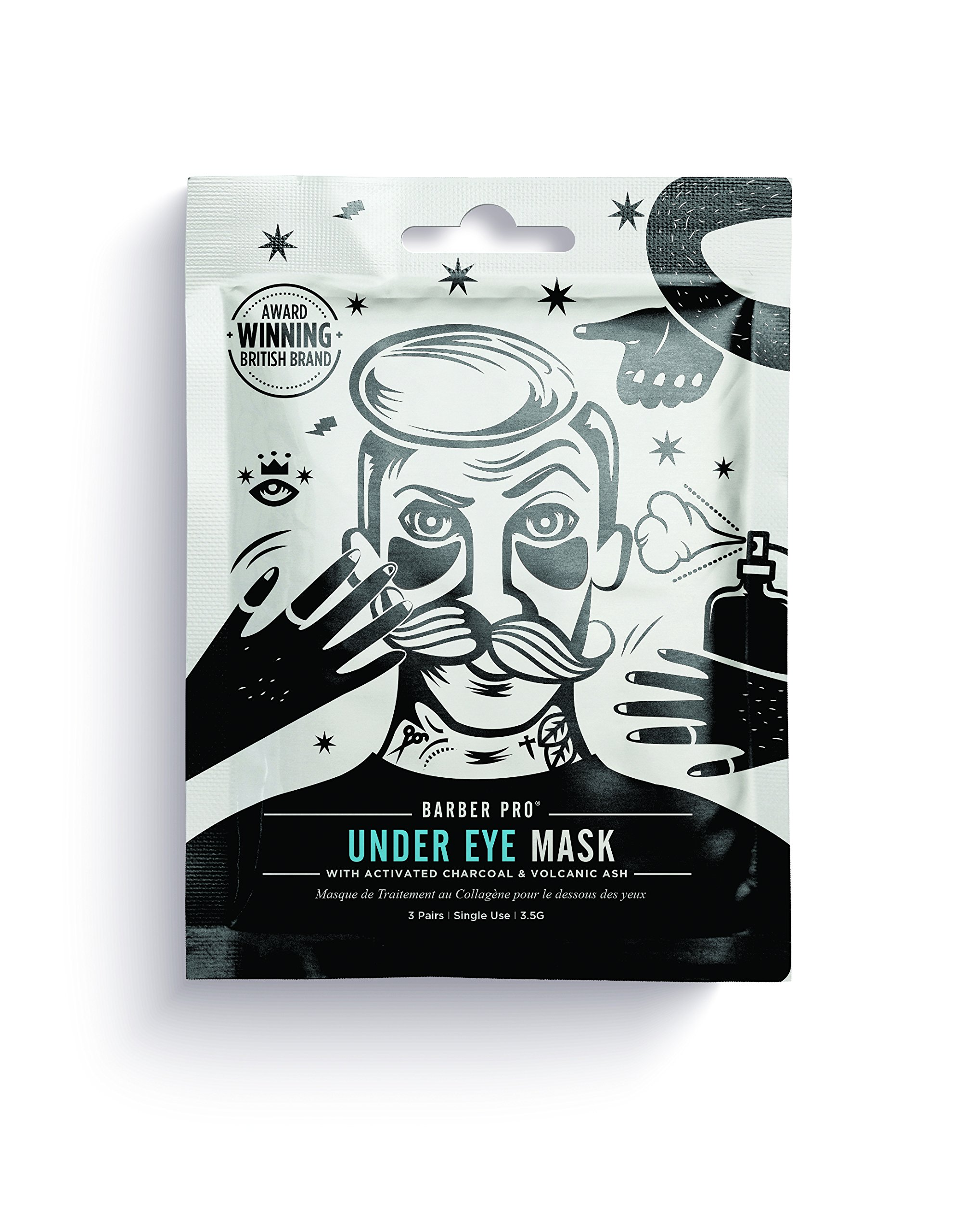 BARBER PRO UNDER EYE MASK for men with activated charcoal & volcanic ash (3 Applications