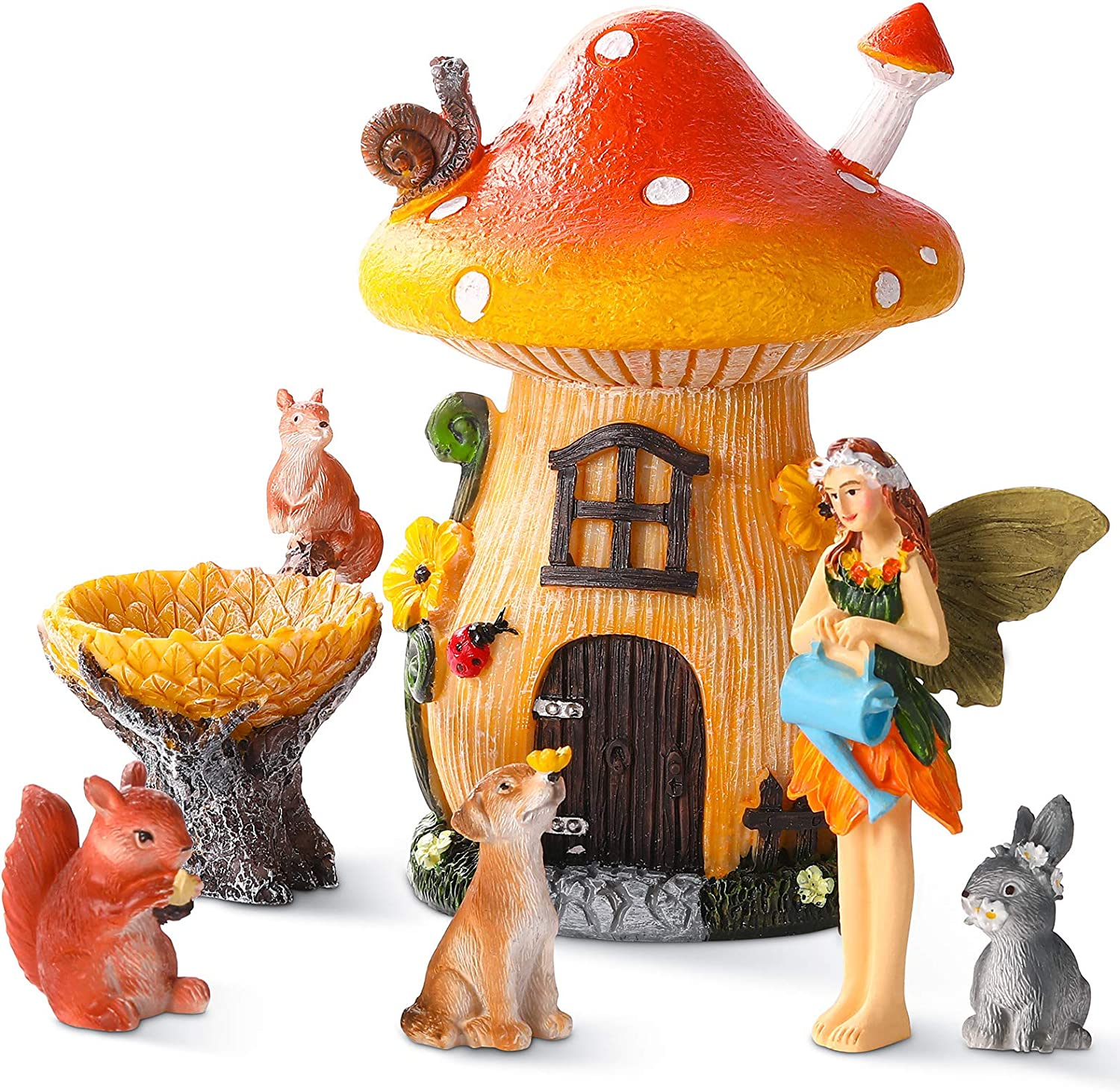 6 Pieces Garden Ornaments Accessories Kit Hand Painted Miniature Ornament Mushroom House Fairy Rabbit Dog Decorations for Yard Lawn Indoor Outdoor Decor and Ornaments