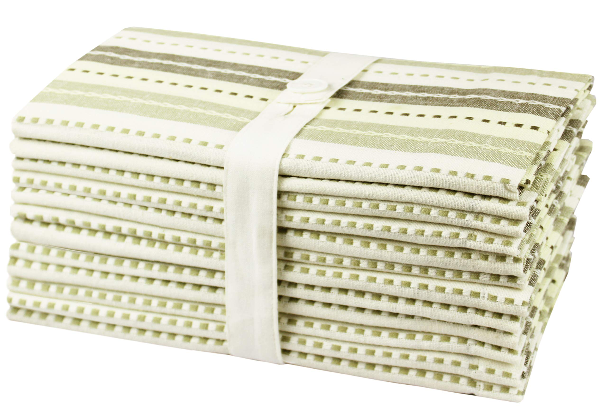 Cotton Craft 12 Pack Salsa Stripes Oversized Dinner Napkins - Natural Light Olive - Size 20x20 - 100% Cotton - Tailored with mitered corners and a generous hem - Easy care machine wash