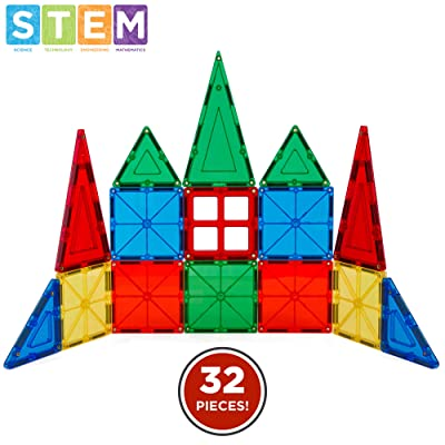 Best Choice Products 32-Piece Kids Magnetic Building Block Tiles Educational STEM Toy Set w/ Carrying Case: Toys & Games
