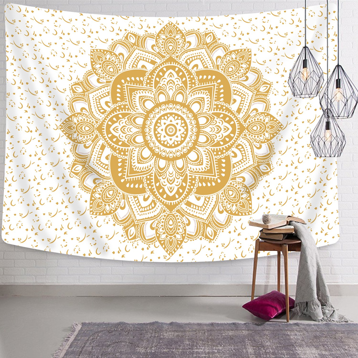Amazon.com: Tapestry Wall Hanging Mandala Wall Tapestry White and ...