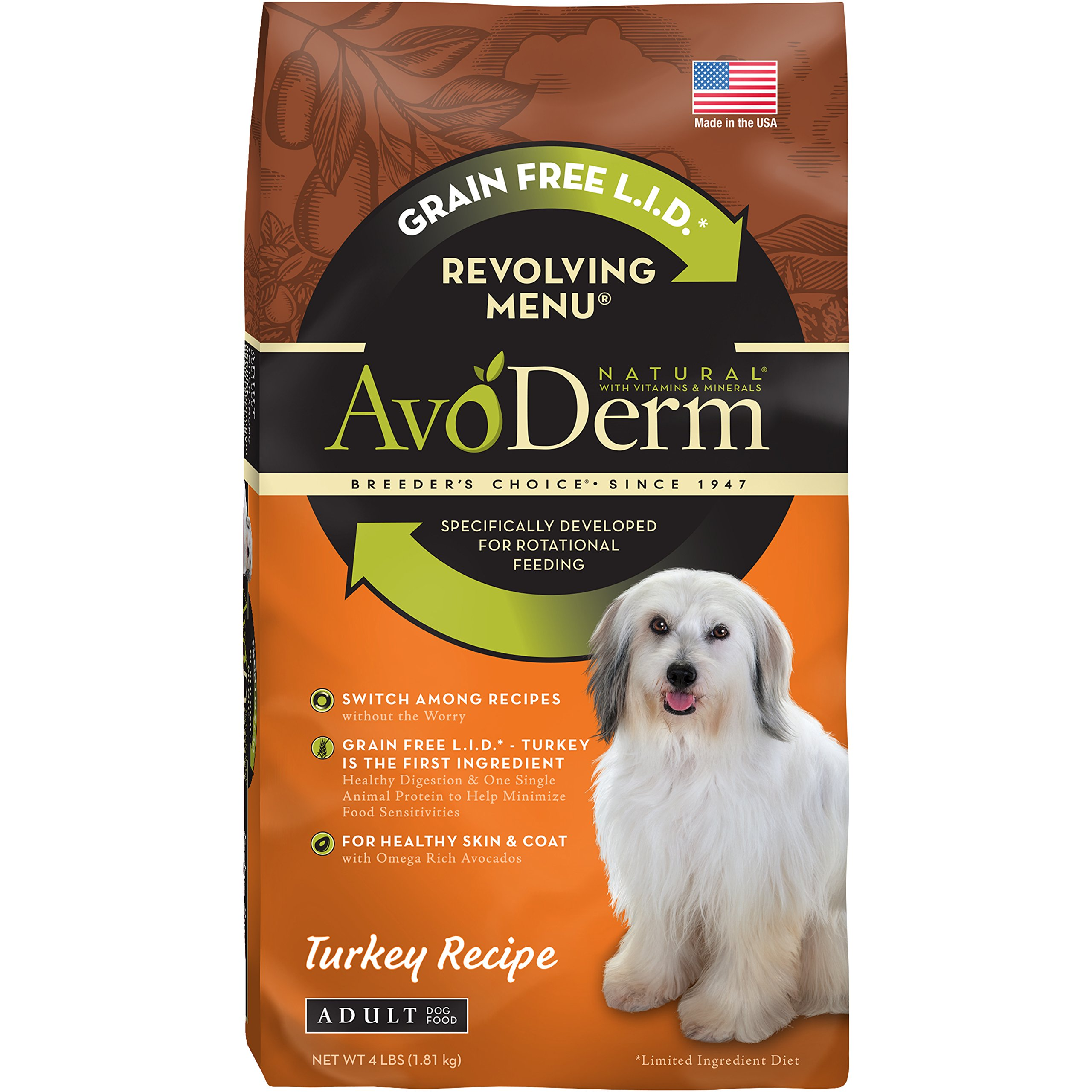 AvoDerm Natural Revolving Menu Turkey Recipe Dry Dog Food, 4-Pound