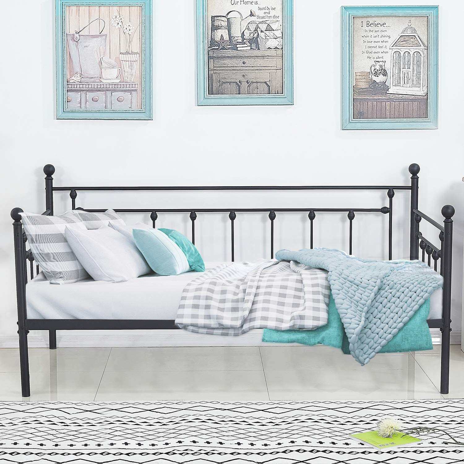 VECELO Daybed Frame Twin Size Multifunctional Metal Platform with Headboard Victorian Style,Mattress Foundation/Children Bed Sofa for Guest Living Room, Black by VECELO
