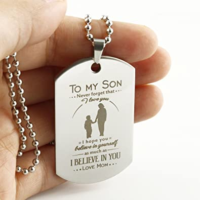 Memory Gift To My Son Dog Tag Gifts Necklace Mother Pendant Military