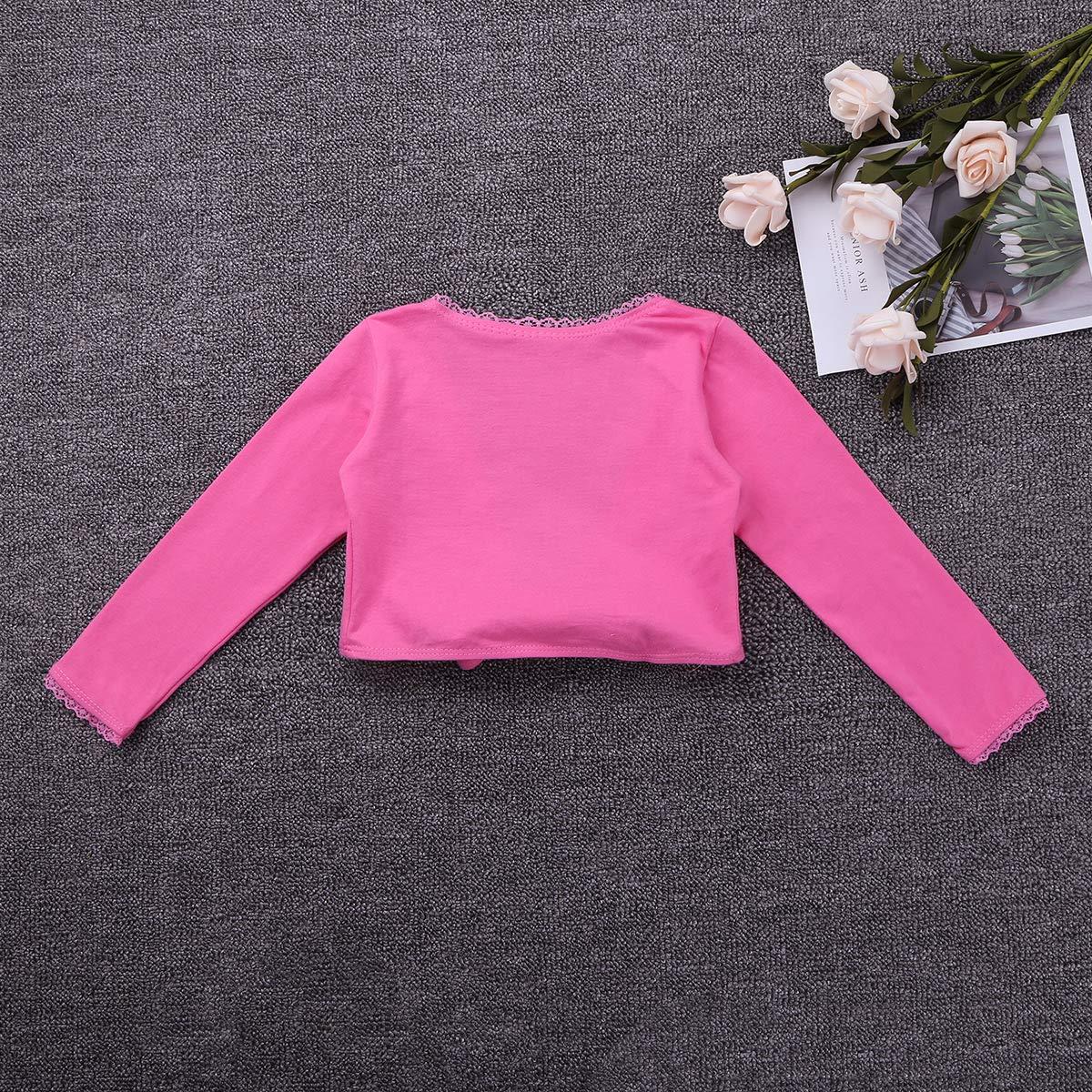 MSemis Enfant Fille Bol/éro de Ballet Danse Classique Haut /à Manche Longue Manteau Coton Cardigan Cape de Gymnastique Manteau de Sport Yoga Veste 2-12 Ans