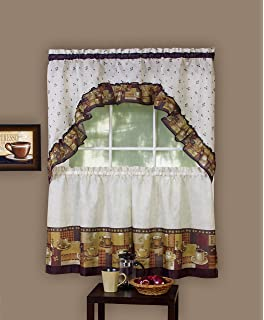 Achim Home Furnishings Coffee Tier And Swag Window Treatment Set 57 By 36 Inch