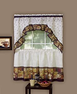 """Achim Home Furnishings CFTS24BW12 57"""" x 24"""" Coffee Tier And Swag Set Brown"""