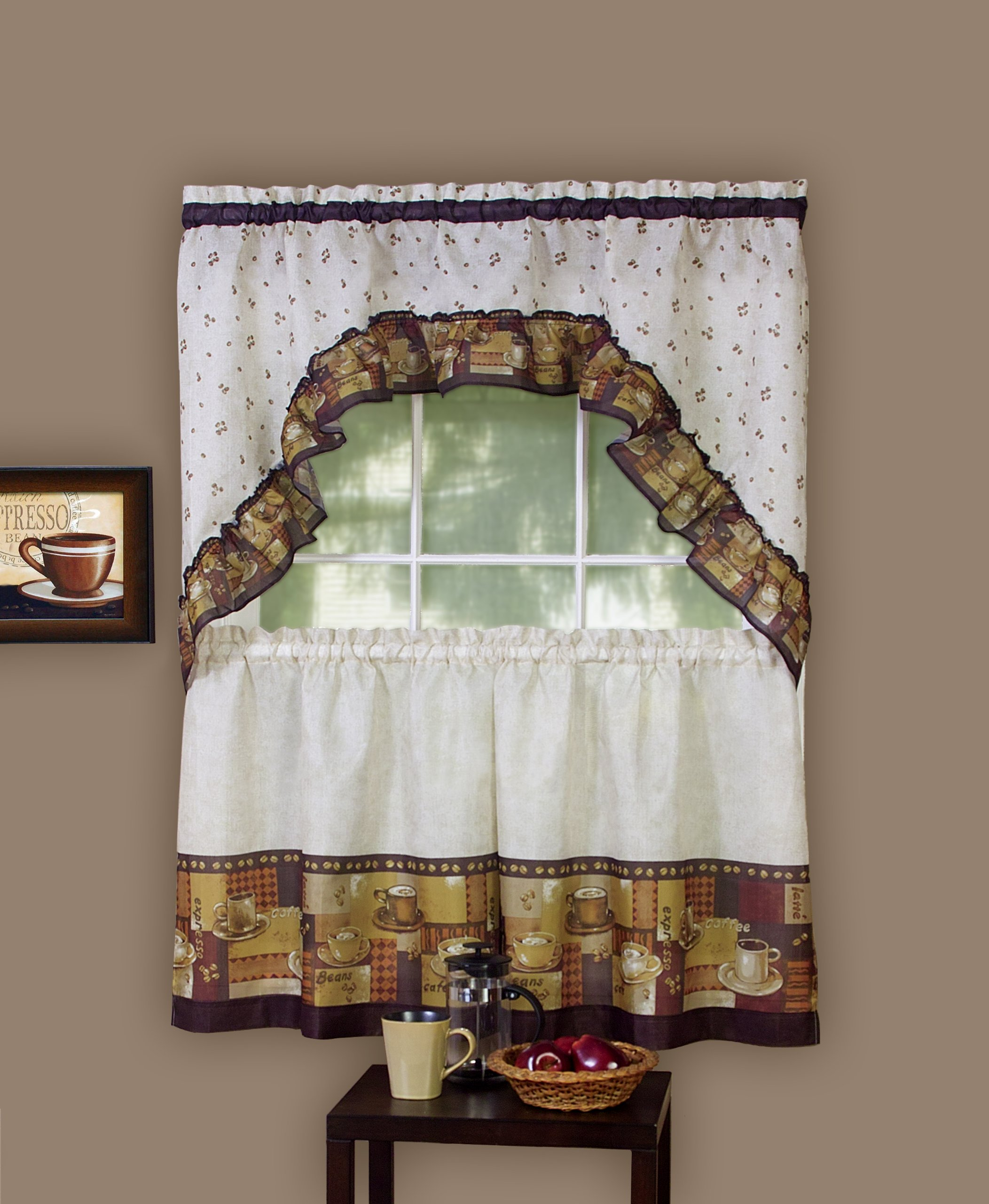 Coffee Kitchen Curtains Amazon Com: 3 Pcs Kitchen Curtain Coffee Tier And Swag Valance Complete Window Treatment Set 689816121552