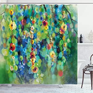 Ambesonne Flower Shower Curtain, Vibrant Colored Blooms Clusters Down from Branch Spring Season Birth Season Image, Cloth Fabric Bathroom Decor Set with Hooks, 84