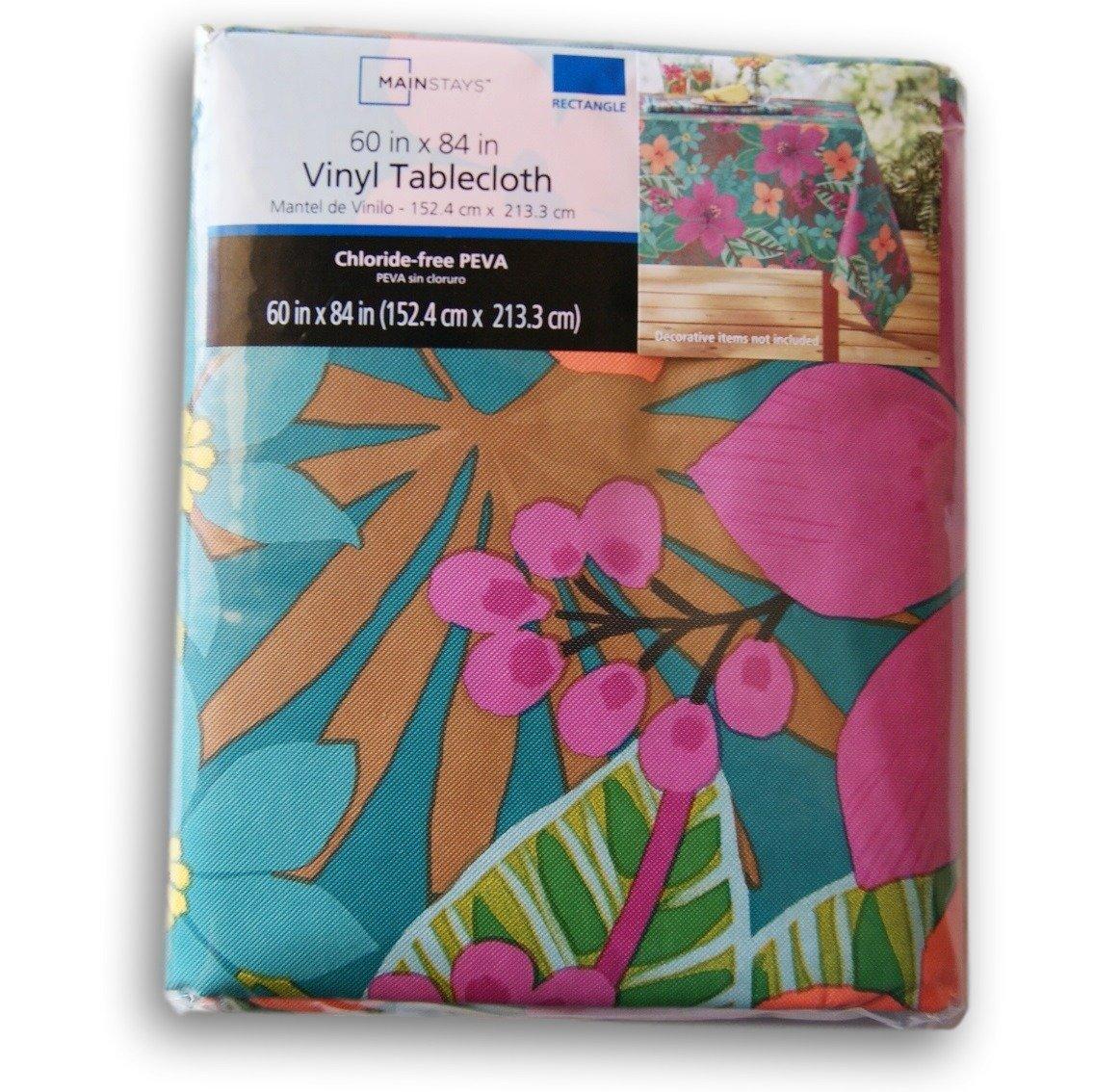 Amazon.com: Summer Tropical Flowers Rectangular Vinyl Tablecloth (60 X 84):  Home U0026 Kitchen
