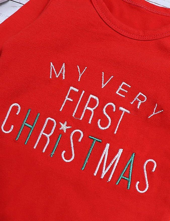 My First Christmas Baby Girls Mameluco Rojo para ni/ños con pantal/ón a Rayas y Sombrero Conjunto de atuendos para reci/én Nacidos de 3 Piezas