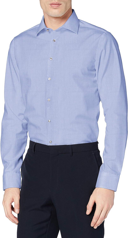 Seidensticker Tailored Langarm Mit Kent-Kragen Bügelfrei Camisa de Oficina para Hombre