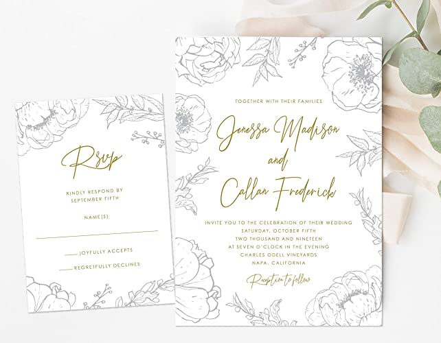 Amazon Com Simple Flower Outline Wedding Invitation Botanical