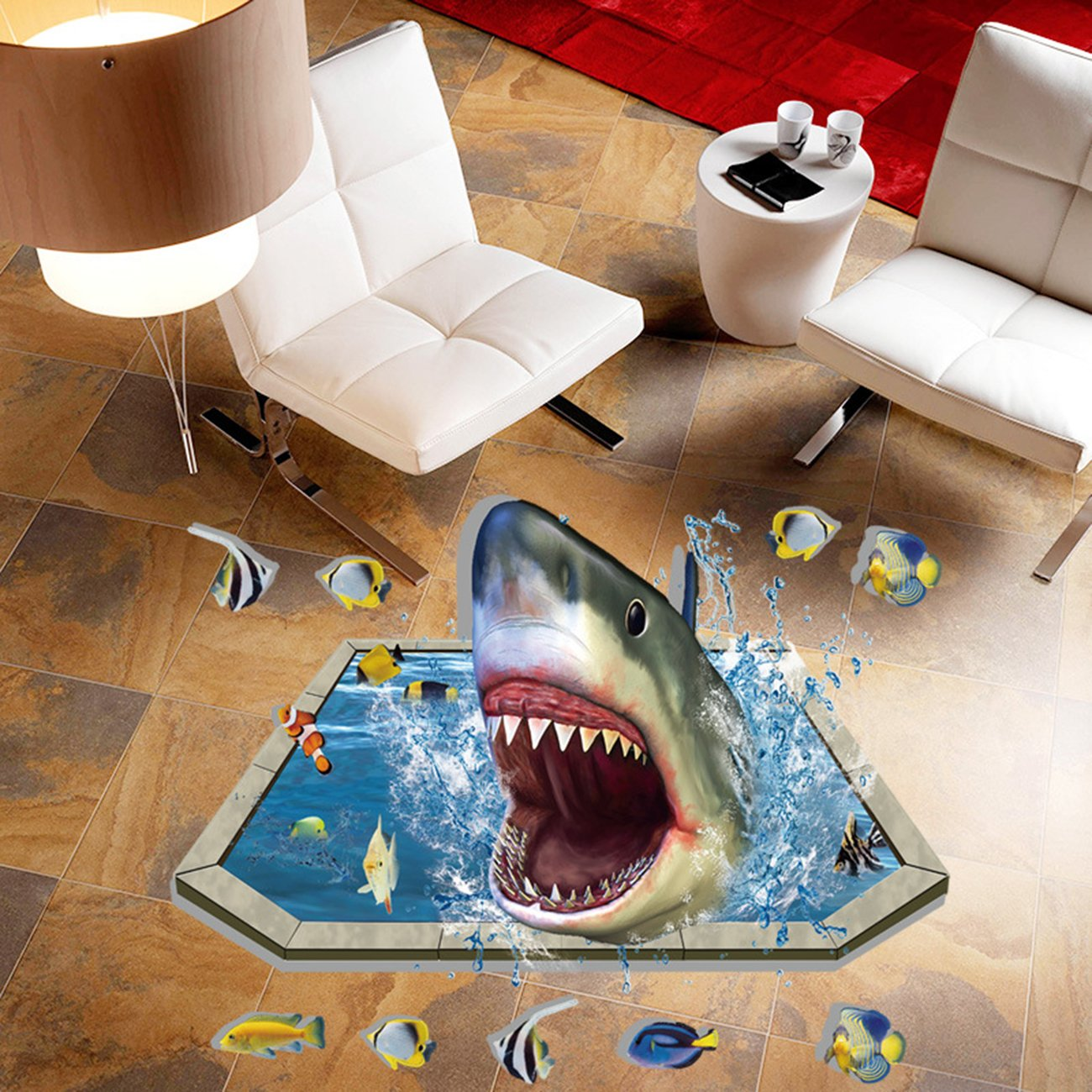 THEE 3D Floor Wall Sticker Removable Mural Decals Ocean Sky Scenery Living Room Decors