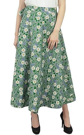 Phagun Wear Verano Reversible con Estampado Floral Verde Oliva ...