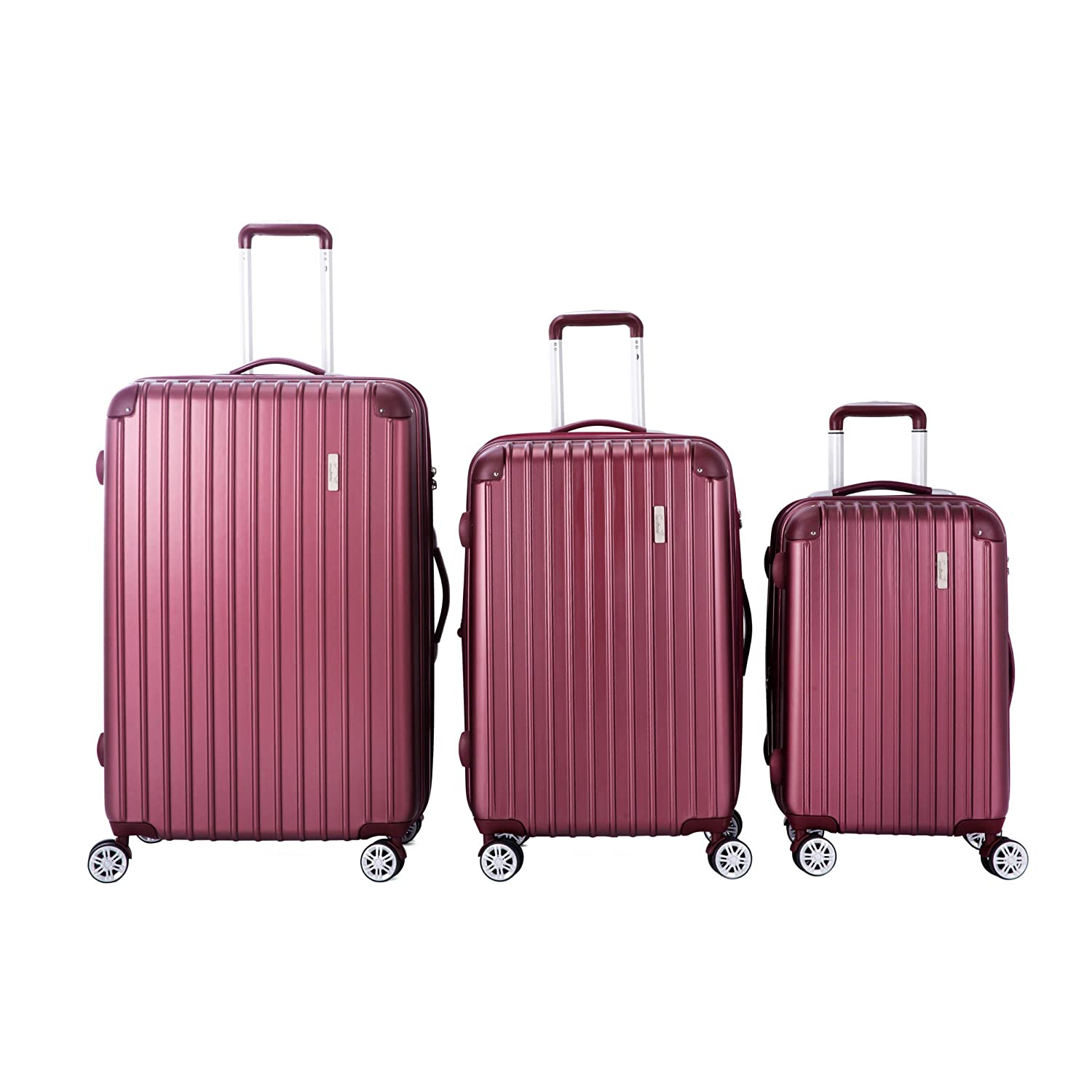 Moustache Hardside Spinner Luggage Sets 3-Piece Set, ABS Hard Shell - Large, Medium and Carry On Suitcase with Wheels,TSA Lock, and Telescopic Handle 20-inch, 24-inch, 28-inch (Wine Red)